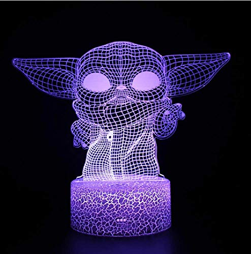 Master Yoda Figure Anime Night Light Led 3D Ilusión Lámpara Niños 3D Regalo Lámpara 16 Colores Cambio Led Lámpara De Escritorio Para El Hogar