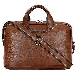 Storite Pu Leather Shoulder Messenger Sling Office/Laptop Organizer Bag up to 16 inch for Men & Women – (37x 27x7 cm,Light Brown),SAITECH IT,Leather Laptop Bag 16 inch - Light Brown