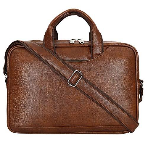 Storite PU Leather 14 inch Laptop Messenger Organizer Bag/Shoulder Sling Office Bag for Men & Women – (37x 27×7 cm,Light Brown)