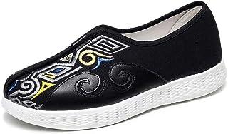 TIANRUI CROWN Zapatos de tela bordados de los hombres retro zapatos de lona de moda para hombres perezosos