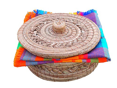 Mexican Handwoven Tortilla Basket & Handloomed Tortilla Cloth Warmer Keeper...