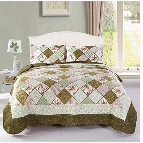 CXDDD Bettdecke + 2 Stück Kissenbezüge Neo-Impression Tagesdecke Summer Blanket Sheet Warme Farbe Passende Steppdecke Queen Size Bettgrün_150x200cm