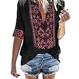 Sunhusing Women's Deep V-Neck Bohemian Print Half Sleeve Tops Casual Beach Wind T-Shirt (S, 1 Black)