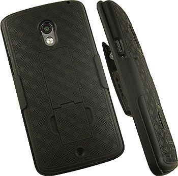 Case with Clip for Droid Maxx-2 Nakedcellphone Black Kickstand Cover + Belt Hip Holster Combo for Motorola Droid Maxx 2  XT1565 XT1561 XT1562 XT1563