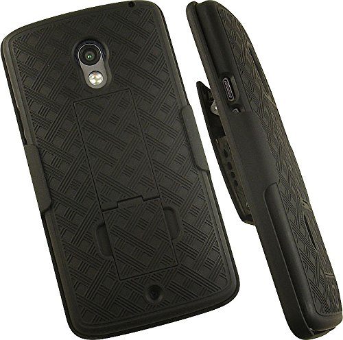 Nakedcellphone Droid Maxx-2 Case with Clip, Black Kickstand Cover + Belt Hip Holster Combo for Motorola Droid Maxx 2 (XT1565 XT1561 XT1562 XT1563)