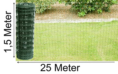 Schweißgitterzaun als Gartenzaun Wildzaun Gitterzaun in grün RAL 6005 1,0 m - 1,5 m hoch Zaungitter Zaundraht Gitterdraht Drahtgitter Maschenzaun (1,5 m hoch 25 m lang)