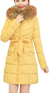 fanmeili-AU Women's Casual Thick Faux-Fur Collar Mid Long Length Quilted Down Jacket Coat