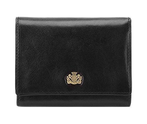 WITTCHEN Geldbörse aus Rindsleder | Kollektion: Arizona | mit Druckknopfverschluss | aus hochwertigen Materialien | elegant und klassisch | Schwarz | 12x9.5 cm