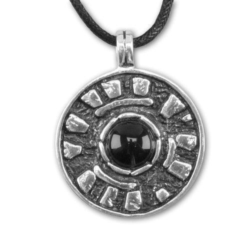 Amulett Stonehenge 925 Sterling Silber mit Onyx inkl Lederband