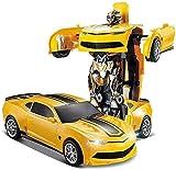 Niños Adultos de control remoto eléctrico del transformador Robot Transformers avispón de coches entusiasta mejor regalo de un botón a distancia de carga del coche del control Presente de cumpleaños d