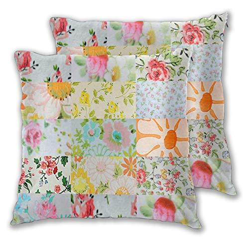 WINCAN Juego de 2 Decorativo Funda de Cojín,Conjunto de Ramas de Flores Coloridas Vintage,Funda de Almohada Cuadrado para Sofá Cama