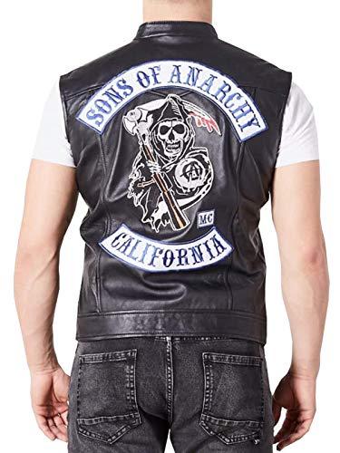SOA Sons of Anarchy Jax Teller Charlie Hunnam - Chaleco de piel para motorista