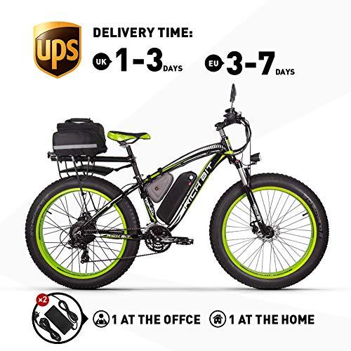 RICH BIT. Bicicleta eléctrica 1000W RT022 E-Bike 48V * 17Ah Li-batería 4.0 Pulgadas (10cm) neumático Gordo Hombres Bicicleta Playa Bicicleta Adecuada para 165-195cm (Green Plus)