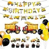 Amycute 31 Piezas Decoración de la Fiesta de cumpleaños de construcción, Globos para Camiones, decoración de la Torta de la Tractor Excavadoras Basura Camiones de Basura Favores temáticos decoración