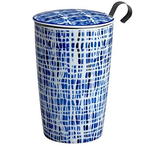Teaeve Teetasse, Becher mit Sieb und Deckel Indigo Lines Blau Weiß Eigenart