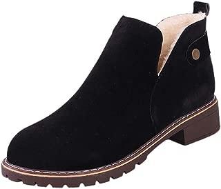 Beladla Zapatos De Mujer Botines Cortos Botines Inglaterra BritáNica Botas Navidad TacóN Bajo Scrub Retro Felpa Mantener Caliente Boot Ante