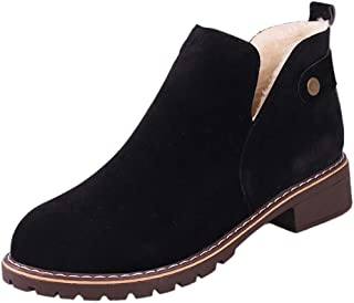 Flat Martin Boots Women Low Heel Shoes Ladies Comfortable Work Hasp Suede Short Shoes (Thicken Black, 40 = US 8)