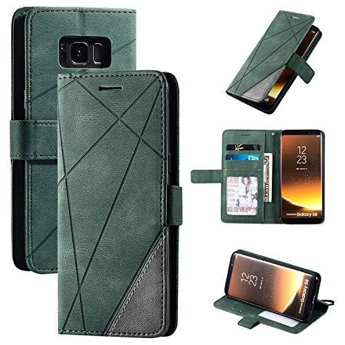 Snow Color Galaxy S8 Hülle, Premium Leder Tasche Flip Wallet Case [Standfunktion] [Kartenfächern] PU-Leder Schutzhülle Brieftasche Handyhülle für Samsung Galaxy S8/G950F - COMS010232 Grün