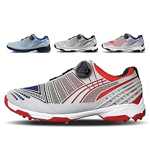 WUDAXIAN Zapatos de Golf Impermeables para Hombres, Ligeros y Resistentes al Desgaste, Antideslizantes, cancha de Entrenamiento de Golf para Exteriores e Interiores