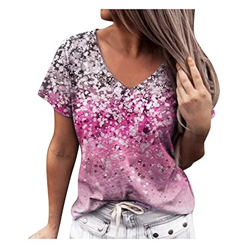 YANFANG Camisa Casual De AlgodóN Manga Corta con Estampado Flores para Mujer Chaqueta Delgada Mujer,Camiseta Tirantes Mujer,Jersey Mujer,Camisetas Pack Larga Originales,Rosa,XL