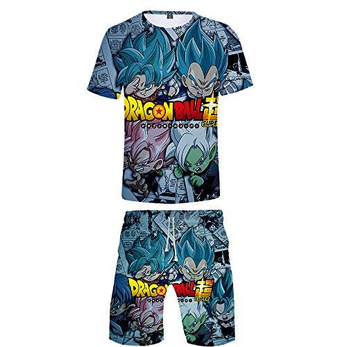 WOONN Pantalones Cortos y Mangas Cortas, Pantalones Cortos con Estampado de Anime de Dragon Ball, Trajes Deportivos, de Ocio, Pijamas