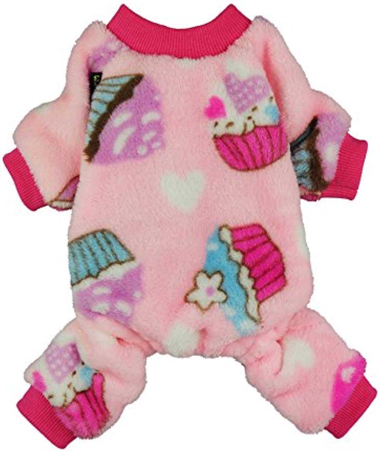 Fitwarm Sweet Cupcake Pet Clothes Dog Pajamas PJS Coat Soft Velvet Pink Large