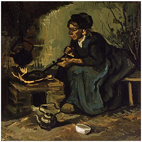 sjkkad Vincent Van Gogh boerster op het fornuis schilderij op canvas Scandinavische poster en prints wandafbeelding voor de woonkamer -50 x 50 cm zonder lijst