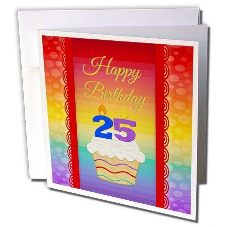 3DROSE Cupcake Con Numero Candele, 25 Anni Compleanno – Set Di 6 Biglietti Di Auguri, 15,2 X 15,2 Cm (GC 244924 _ 1)