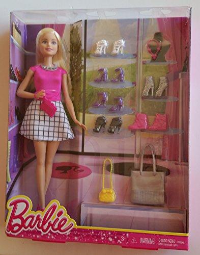 Muñeca Barbie Fashionista rubia con 7 pares de zapatos y 3 bolsos de moda
