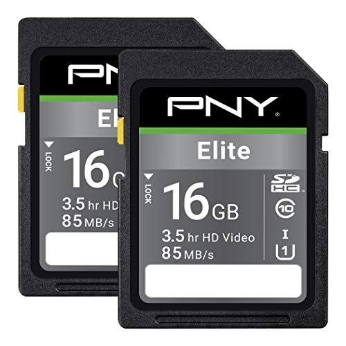 PNY 16GB Elite Class 10 U1 SDHC Flash Memory Card, 2-Pack, up to 85MB/s read speed (P-SD16GX2U185EL-GE)