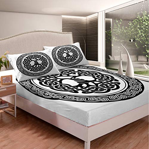 Celtic Knot Fitted Sheet Elegant Celtic Lines Bedding Set for Kids Boys Girls Retro Medieval Style Bed Cover Abstract Art Bedclothes Ultra Soft Decorative Room with 2 Pillow Cases Queen Size