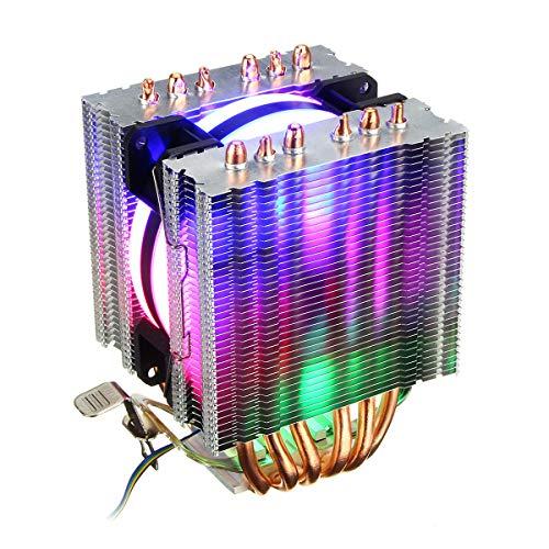 KASILU EJG0114 DIY ORFUERTE CPU Cooler RGB Fan de enfriamiento para Intel 775 1150 1151 1155 1156 1366 AMD AM4 Alto Rendimiento