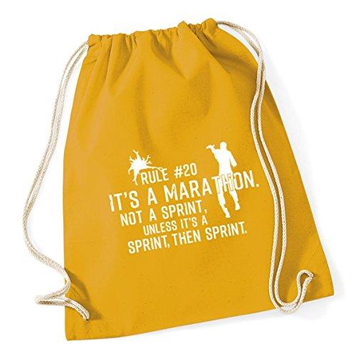 HippoWarehouse Rule #20 It's A Marathon Not A Sprint, Unless It's A Sprint, Then Sprint Zombie Drawstring Cotton School Gym Kid Bag Sack 37cm x 46cm, 12 litres