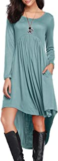 LARACE Women's Casual Tunic Long Sleeve Dress Pockets Loose Swing Tee Tops