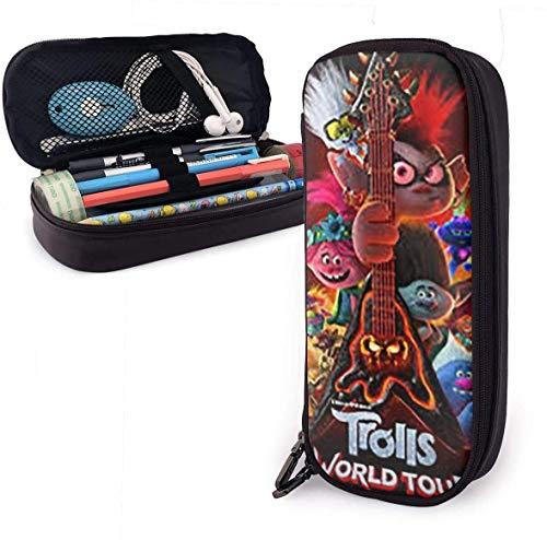 Trolls World Tour - Estuche de piel sintética de alta calidad, para estudiantes, color negro