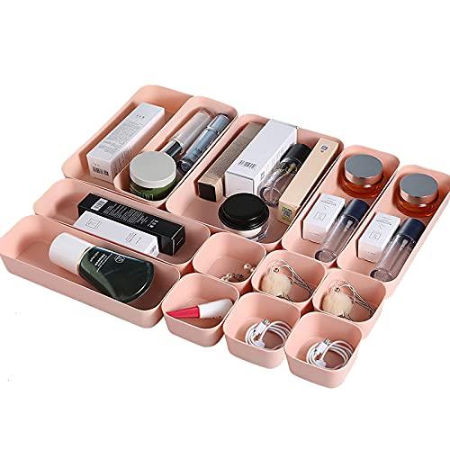 ConpConp Juego de 12 cajas de almacenamiento de plástico compacto para ahorrar espacio, para dormitorio, oficina, baño, escuela