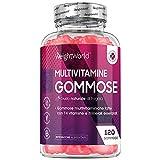 integratore multivitaminico - 120 vitamine gommose - 14 vitamine e minerali - multivitaminico donna e uomo - multivitaminico multiminerale senza glutine - gusto di fragola - basso apporto di zucchero