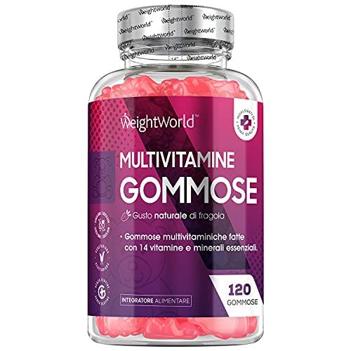 Multivitaminico - 120 Vitamine Gommose - Multivitaminico Completo con 14 Vitamine e Minerali - Multivitaminico Uomo e Donna - Integratore Multivitaminico al Gusto di Fragola Senza Glutine Vegetariano