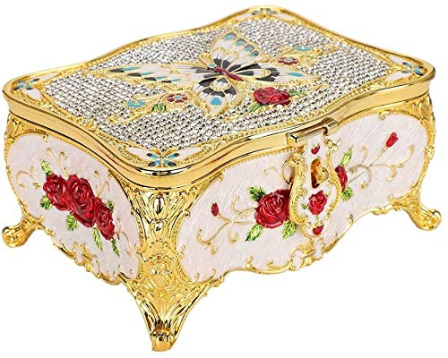Caja de almacenamiento de joyas, estilo vintage, caja de almacenamiento de aleación, pendientes, pulseras, anillos, collares, organizador, joyero, diseño interior con cerradura de espejo