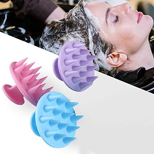 OLOPE Hair Scalp Massager Shampoo Brush,Updated Wet and Dry Hair Shampoo Brush Scalp Massage Brush with Soft Silicone Brush Head Massager,Massage M-eridian Comb Soft Tooth Shampoo Brush (Purple)