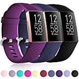 Maledan Compatible with Fitbit Charge 3 and Charge 4 Bands for Women Men, Soft Waterproof Band Sport Strap Replacement for Fitbit Charge 4/Charge 3/Charge 3 SE, 3 Pack Black/Plum/Blue, Small