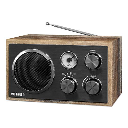 Victrola Wooden Desktop FM Radio with Bluetooth, Farmhouse Shiplap Grey