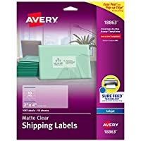 Avery インクジェットプリンター用透明 簡単剥がせる配送ラベル 2X4