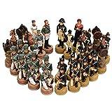WXH 32 piezas de ajedrez vintage de madera 3D juego de piezas de ajedrez tallado a mano pieza de ajedrez regalo para profesional competencia adulto niño