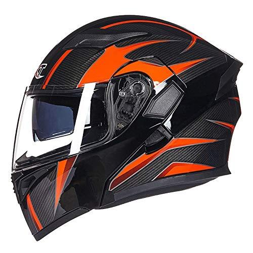 JIAND DOT ECE Approved Full Face Racing Motorradhelm, Motorrad Crash Modular Helm mit Sonnenblende für Erwachsene Männer Frauen Schwarz Orange 57-62CM,XL_61~62CM