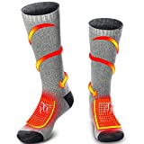 Rabbitroom Unisex Rechargeable Battery Electric Heated Socks Kit, Thick Knitting Thermal Sox Care Chronically Cold Feet, Winter Warm Cotton Crew Socks for Outdoor Hunting Skiing, Free Size (Gray)