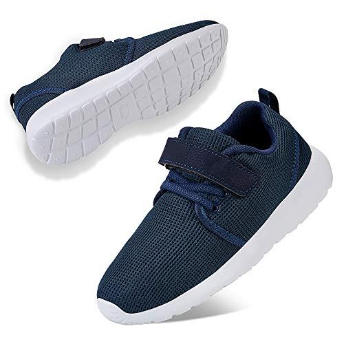 WateLves Laufschuhe Kinder rutschfest Schuhe Turnschuhe Atmungsaktiv Outdoor Sportschuhe Klettverschluss für Jungen Mädchen(Z.Blau,1.5 UK,34 EU,33 Asian)