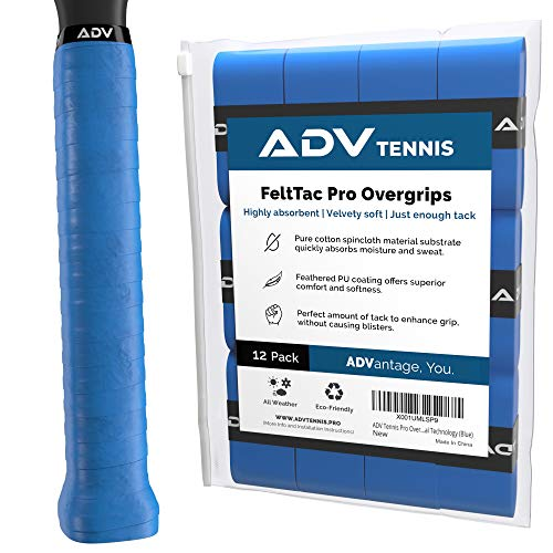 ADV Tennis Dry Overgrip - 12 Pack - Ultra Absorbent Grip Tape with Exclusive FeltTac Material for High Velvety Comfort - Pro Tested & Designed (Blue)