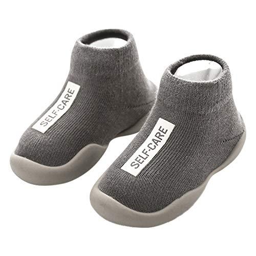 ANIMQUE Kinder Anti Rutsch Socken Schuhe Babyschuhe rutschfeste Sohle Lauflernschuhe Krabbelschuhe Weich Bequem 20/21 EU, Grau (MB)