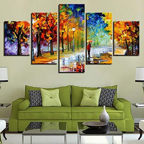 BXZGDJY canvas foto's Home Decor gedrukt 5 stuks koffiebonen koffiemok schilderij eten dessert poster keuken café modulaire muurkunst 150x100cm afbeelding schilderijen op canvas 5-delig poster voor huis A9.